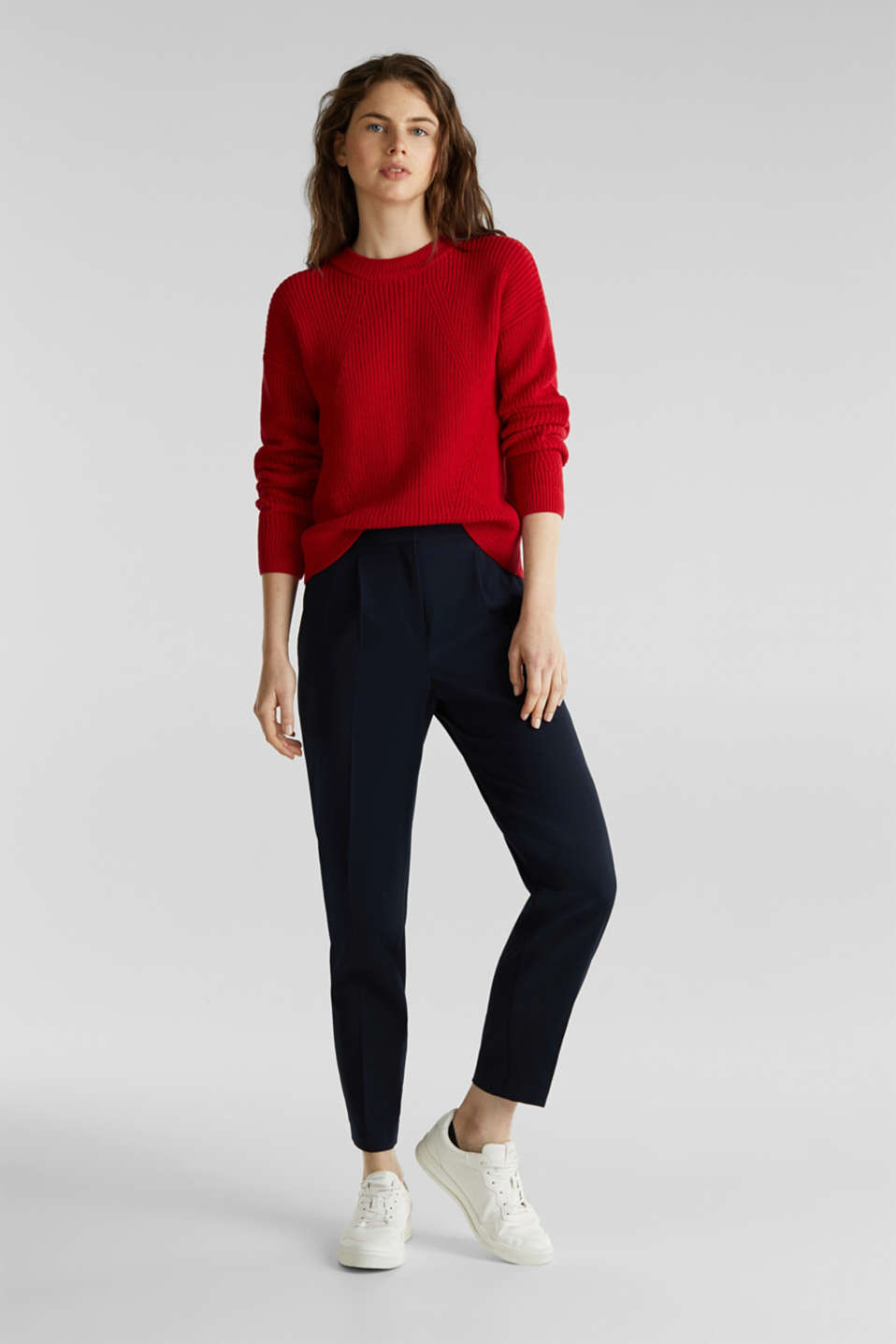 Jumper with textured details, 100% cotton, DARK RED, detail image number 1