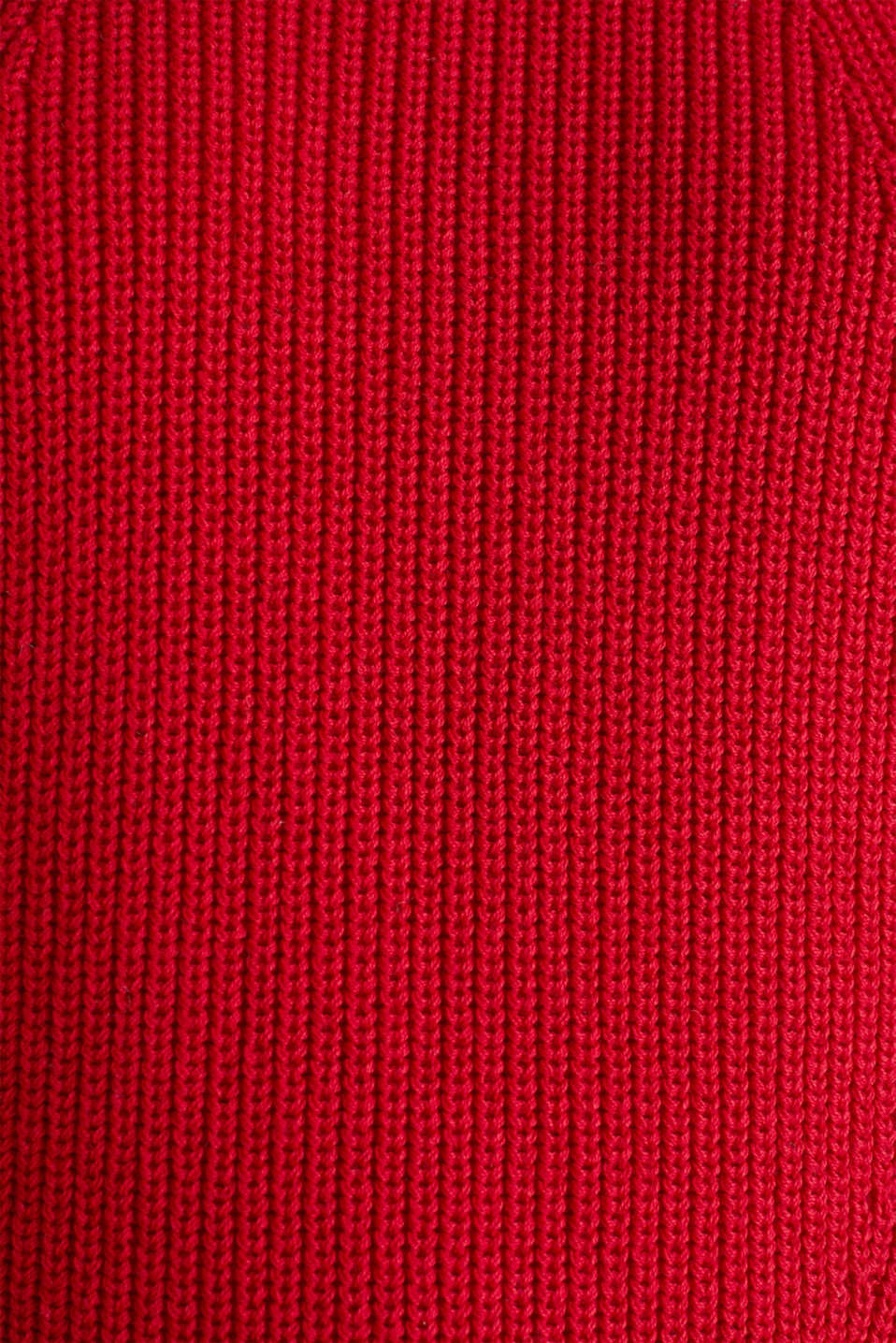 Jumper with textured details, 100% cotton, DARK RED, detail image number 3