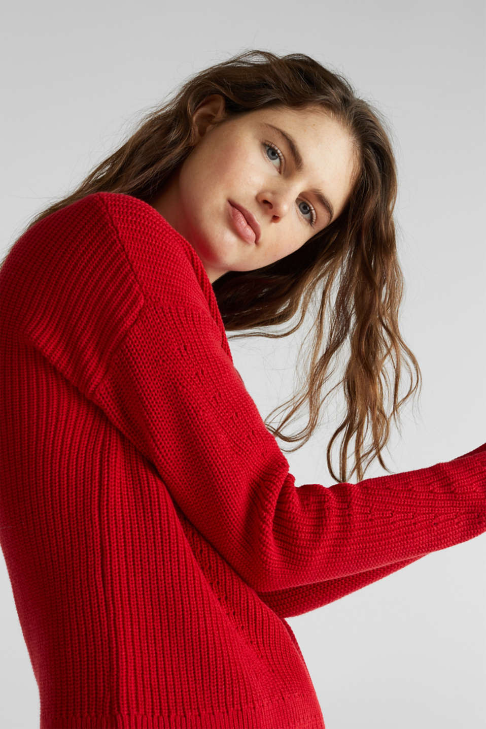 Jumper with textured details, 100% cotton, DARK RED, detail image number 4