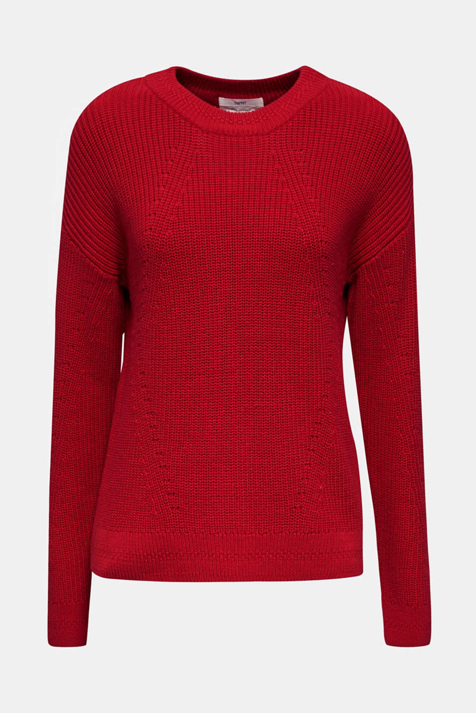 Jumper with textured details, 100% cotton, DARK RED, detail image number 5
