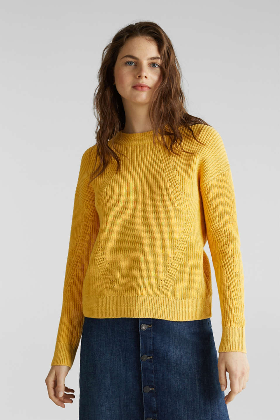 Jumper with textured details, 100% cotton, YELLOW, detail image number 0
