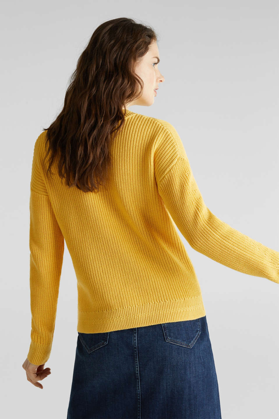 Jumper with textured details, 100% cotton, YELLOW, detail image number 2