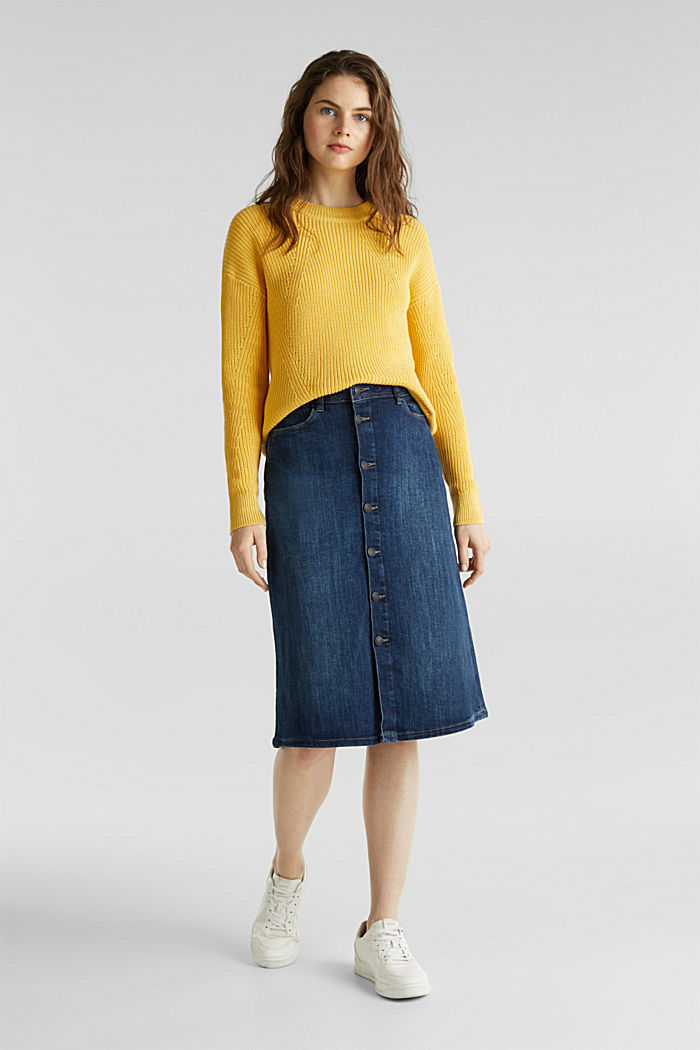 Jumper with textured details, 100% cotton, YELLOW, detail image number 1