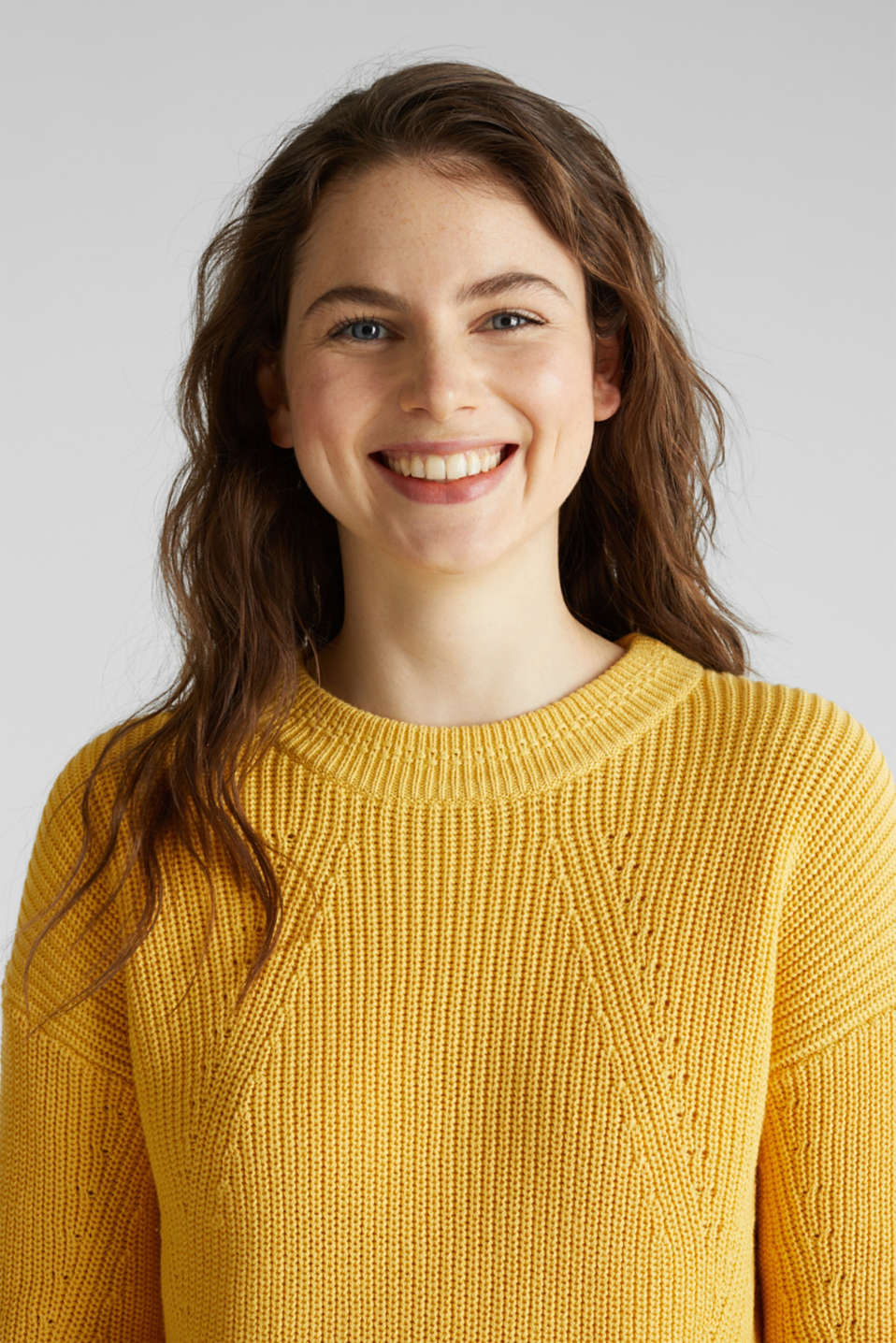 Jumper with textured details, 100% cotton, YELLOW, detail image number 4