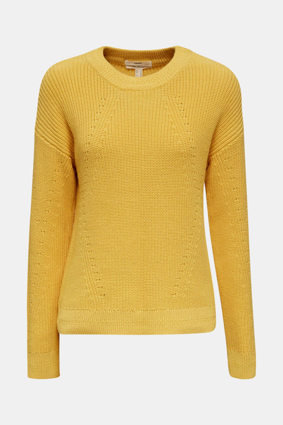 Jumper with textured details, 100% cotton, YELLOW, detail image number 5