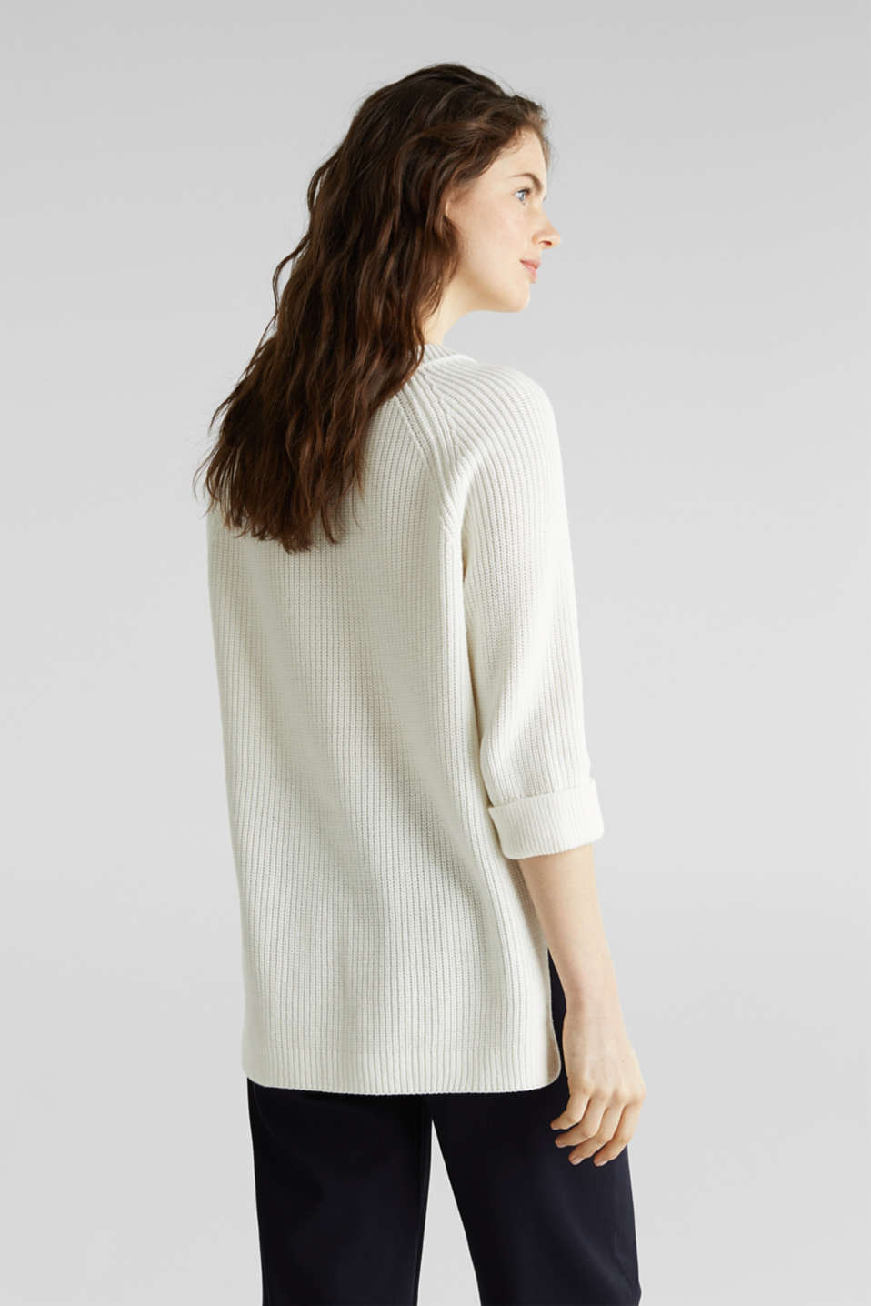 Jumper with a high-low hem, 100% cotton, OFF WHITE, detail image number 2