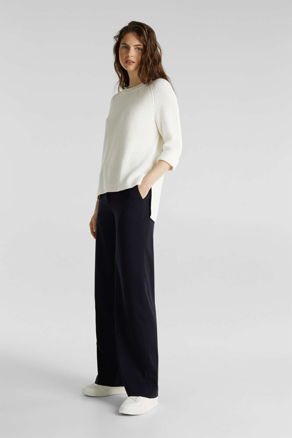 Jumper with a high-low hem, 100% cotton, OFF WHITE, detail image number 1