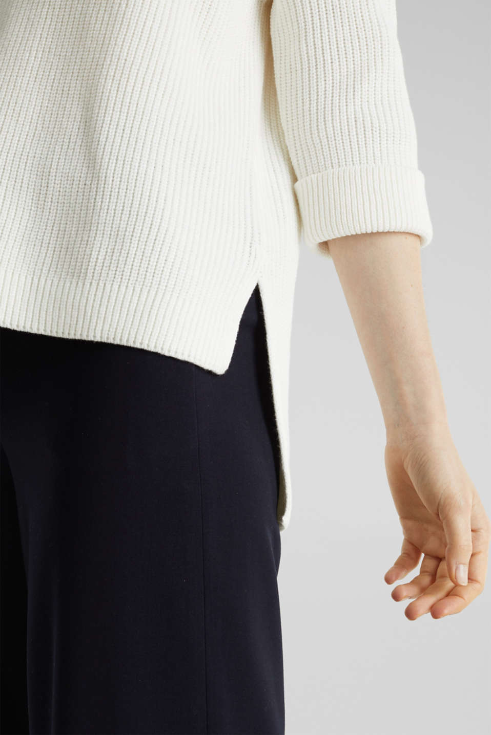 Jumper with a high-low hem, 100% cotton, OFF WHITE, detail image number 4