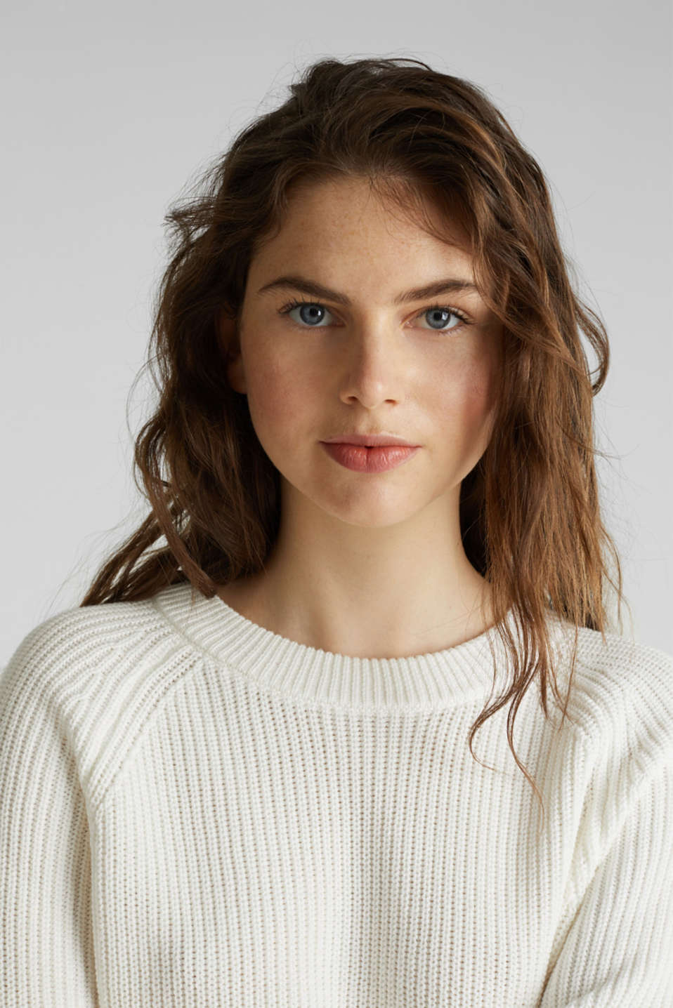Jumper with a high-low hem, 100% cotton, OFF WHITE, detail image number 5
