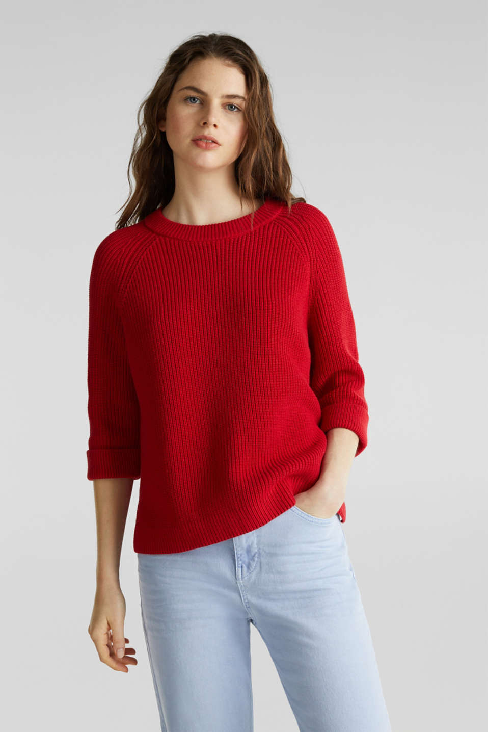 Esprit - Jumper with a high-low hem, 100% cotton