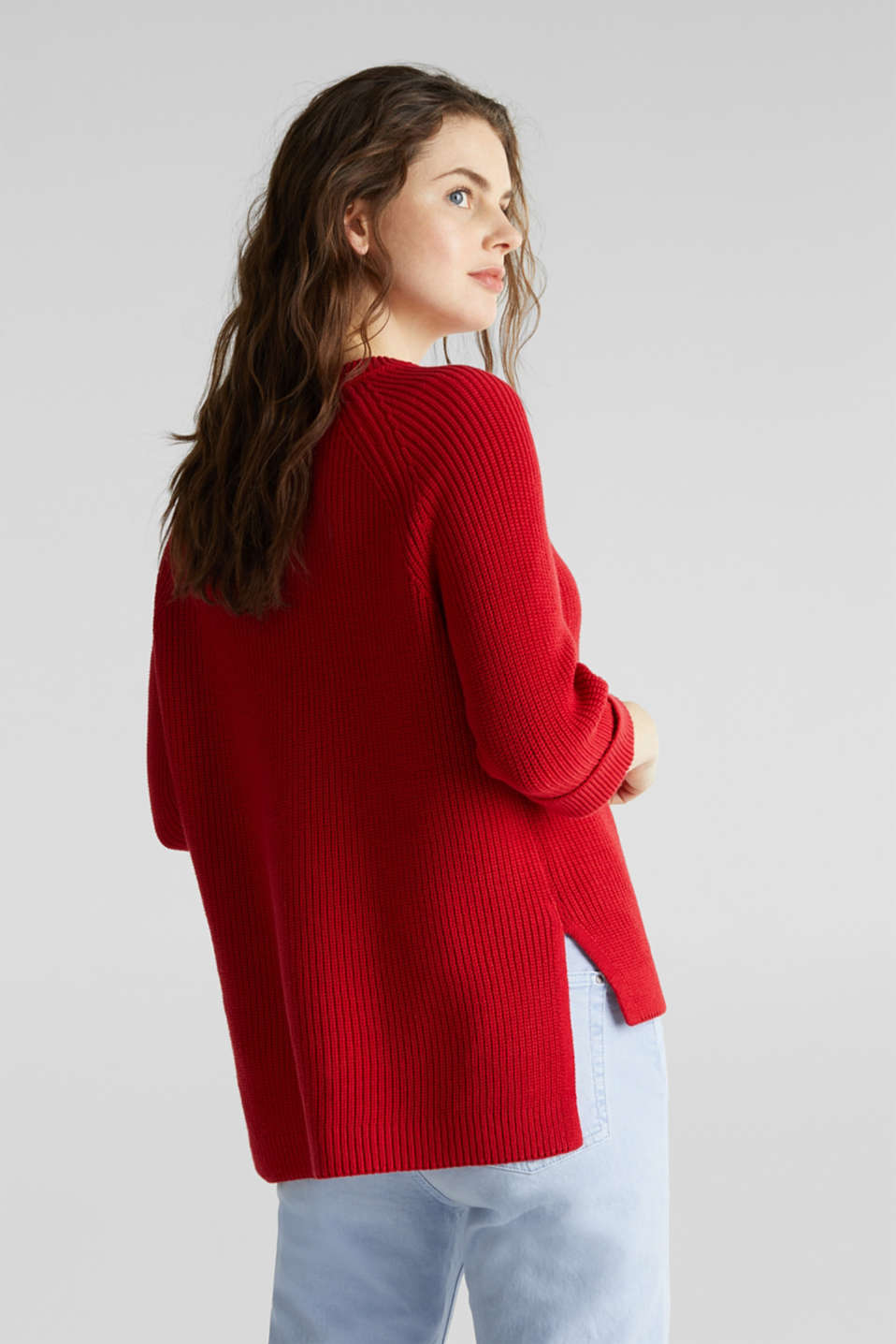 Jumper with a high-low hem, 100% cotton, DARK RED, detail image number 2