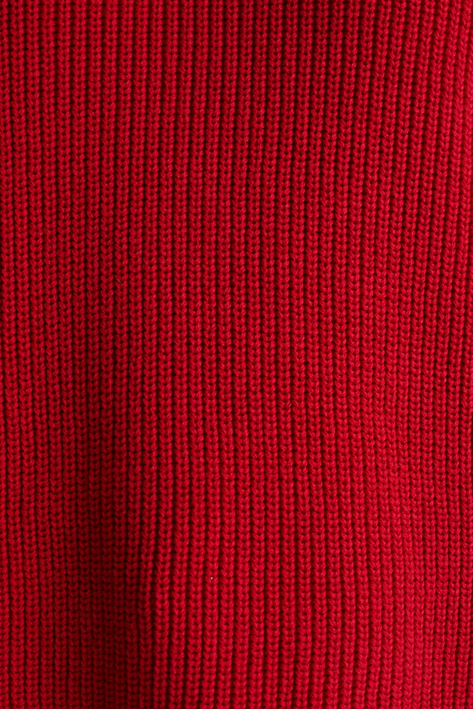 Jumper with a high-low hem, 100% cotton, DARK RED, detail image number 3