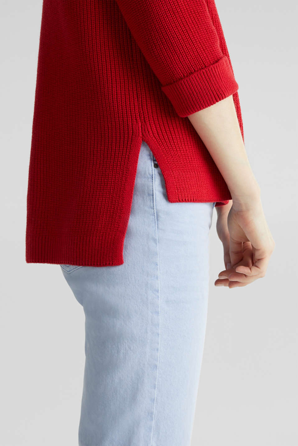 Jumper with a high-low hem, 100% cotton, DARK RED, detail image number 4