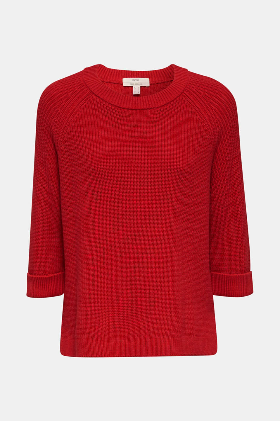 Jumper with a high-low hem, 100% cotton, DARK RED, detail image number 6