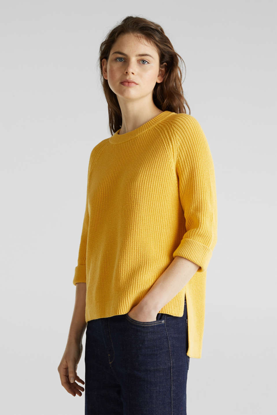 Jumper with a high-low hem, 100% cotton, YELLOW, detail image number 0