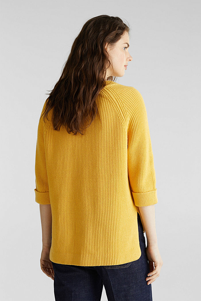 Jumper with a high-low hem, 100% cotton, YELLOW, detail image number 3