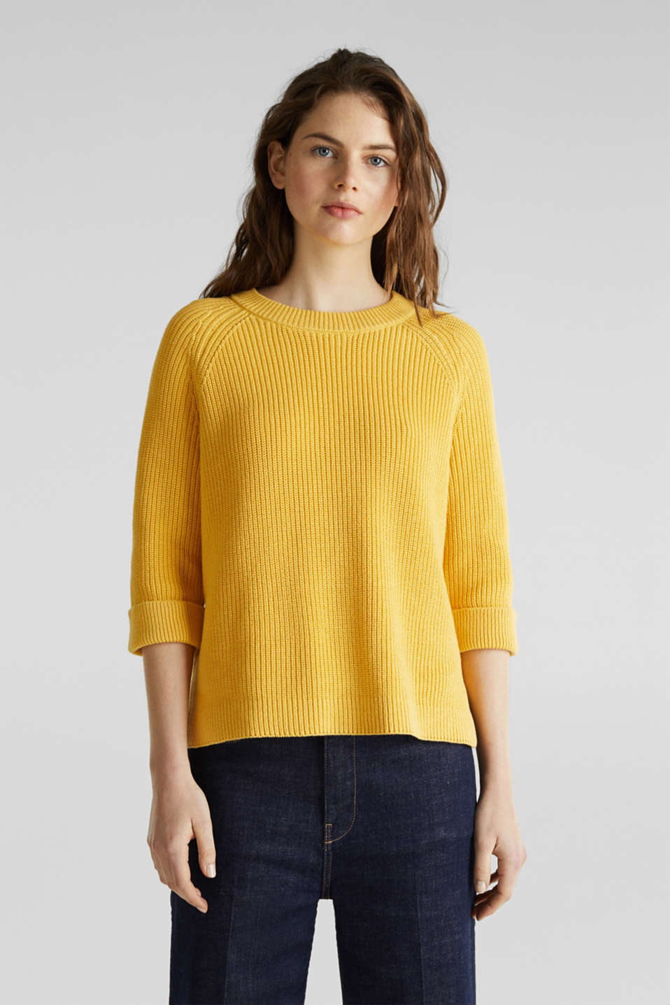 Jumper with a high-low hem, 100% cotton, YELLOW, detail image number 5