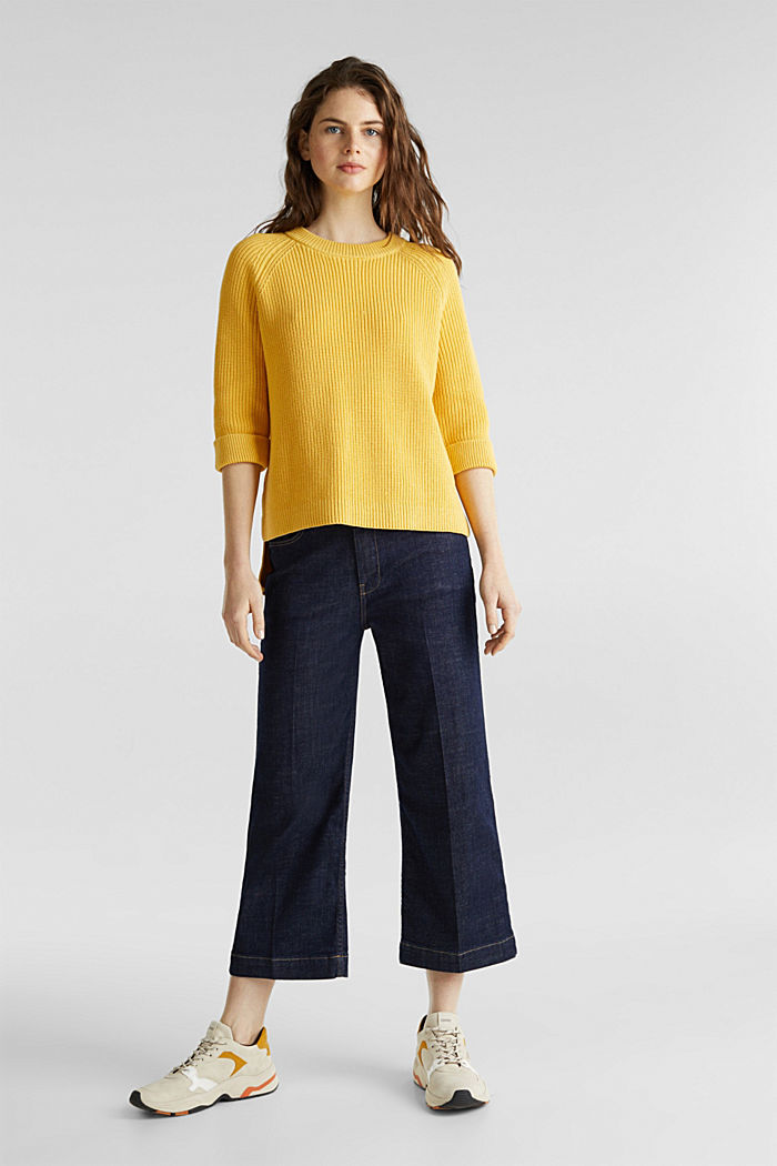 Jumper with a high-low hem, 100% cotton, YELLOW, detail image number 1