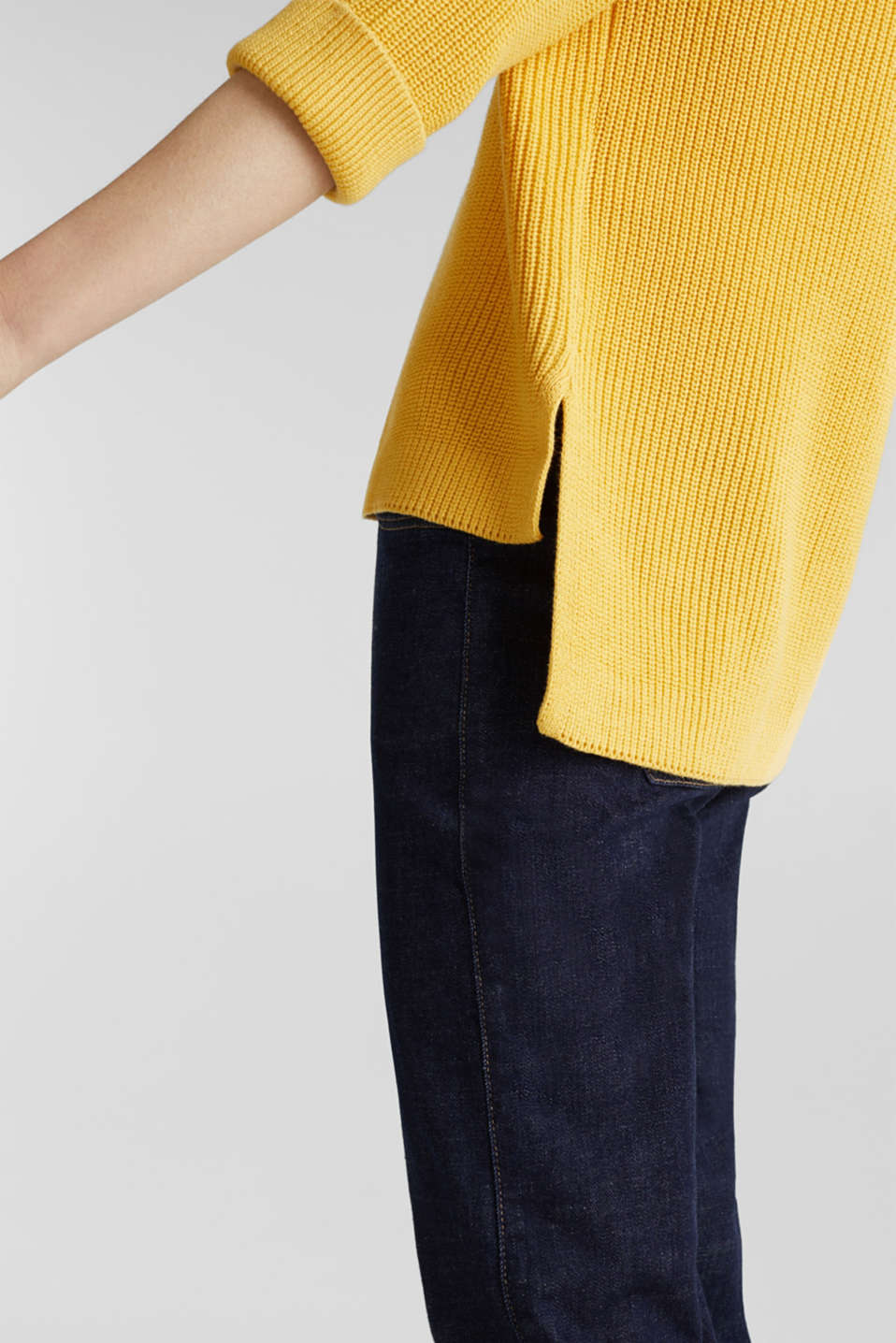 Jumper with a high-low hem, 100% cotton, YELLOW, detail image number 2