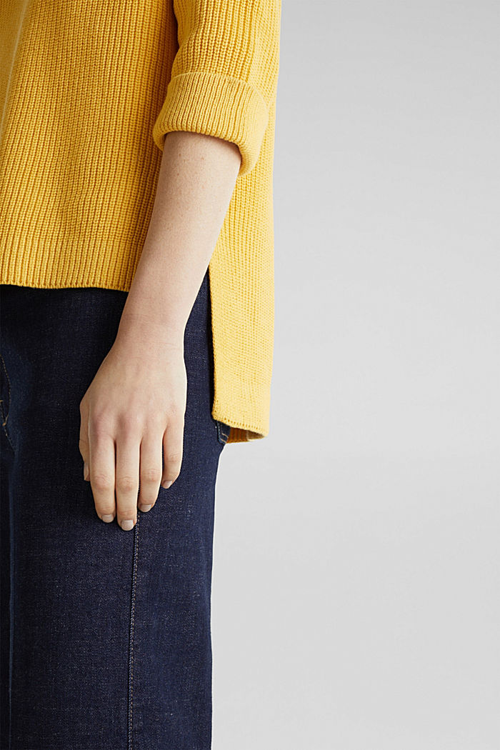 Jumper with a high-low hem, 100% cotton, YELLOW, detail image number 4