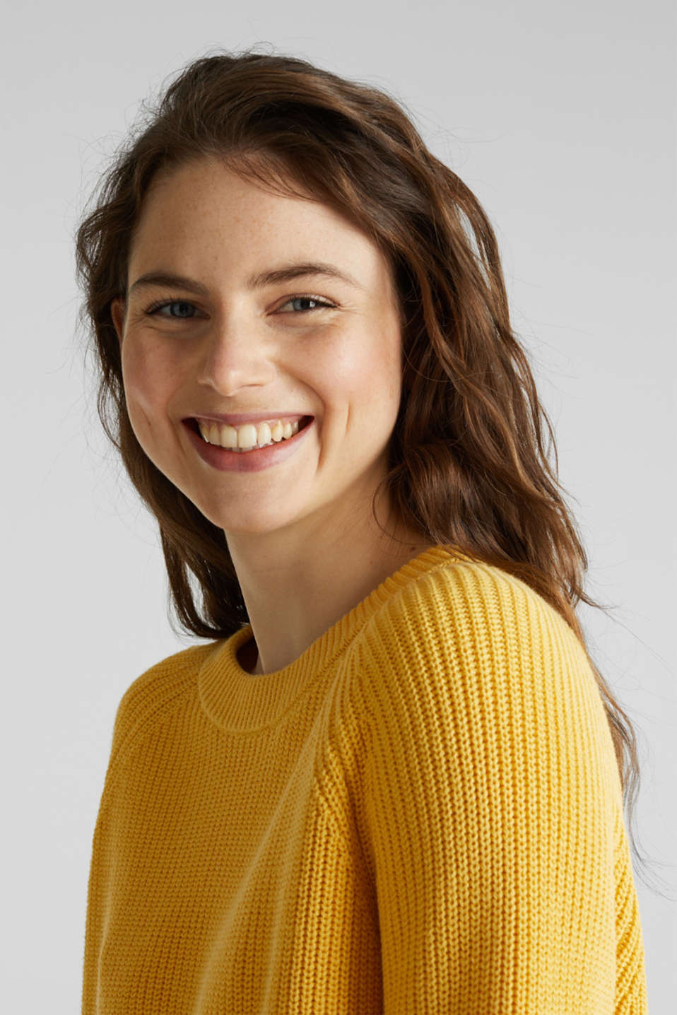 Jumper with a high-low hem, 100% cotton, YELLOW, detail image number 6
