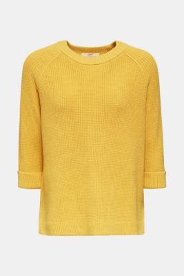 Jumper with a high-low hem, 100% cotton, YELLOW, detail