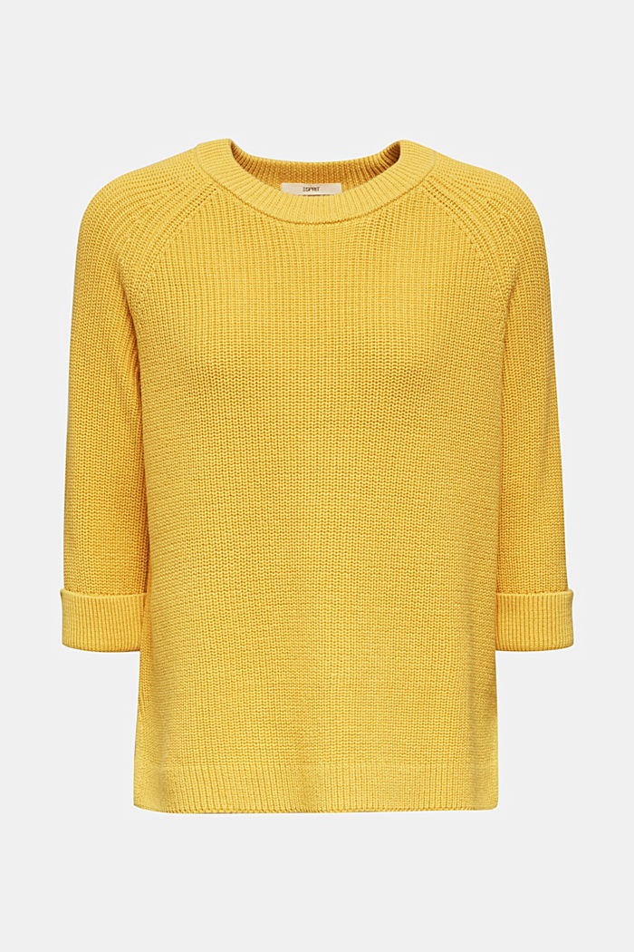 Jumper with a high-low hem, 100% cotton, YELLOW, detail image number 7