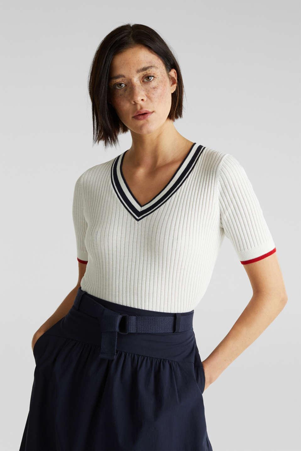 Short-sleeved V-neck jumper, OFF WHITE 3, detail image number 0