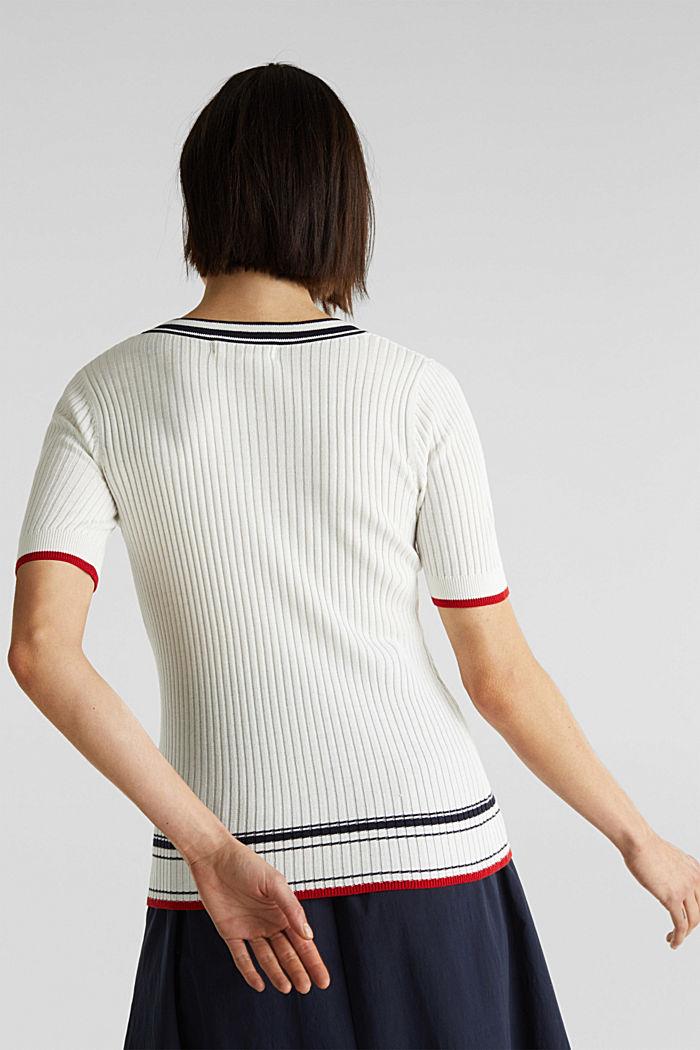 Kurzarm-Pullover mit V-Ausschnitt, OFF WHITE, detail image number 3