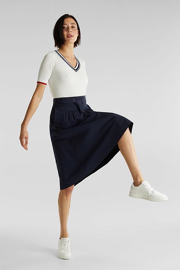 Kurzarm-Pullover mit V-Ausschnitt, OFF WHITE, detail image number 1