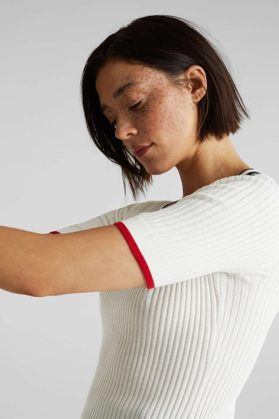 Short-sleeved V-neck jumper, OFF WHITE 3, detail image number 2