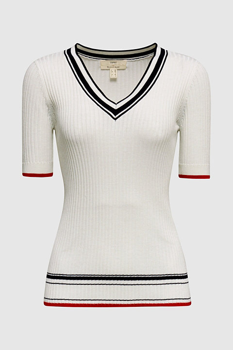 Short-sleeved V-neck jumper