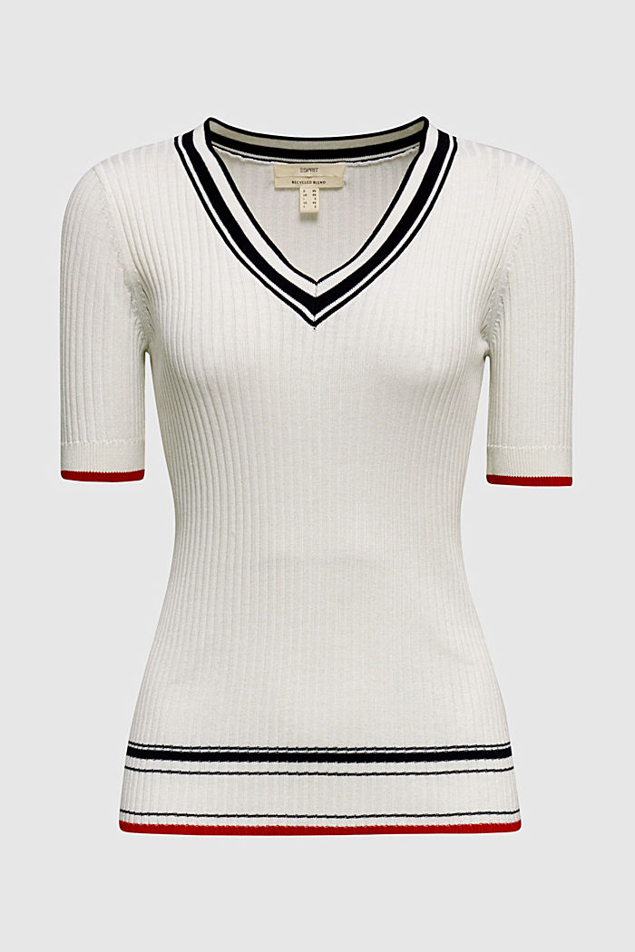 Kurzarm-Pullover mit V-Ausschnitt, OFF WHITE, detail image number 5