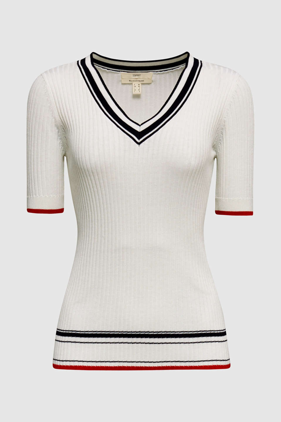 Short-sleeved V-neck jumper, OFF WHITE 3, detail image number 5
