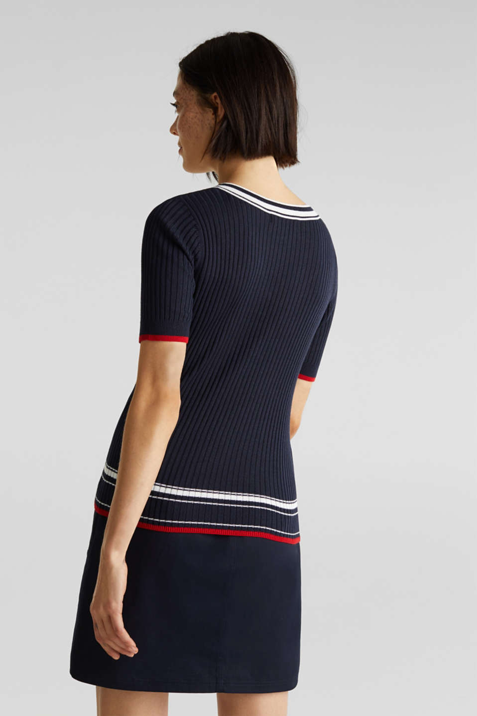 Short-sleeved V-neck jumper, NAVY 3, detail image number 3