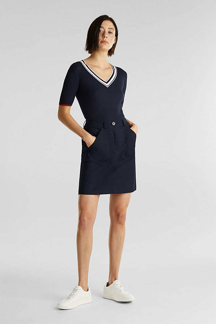 Kurzarm-Pullover mit V-Ausschnitt, NAVY, detail image number 1