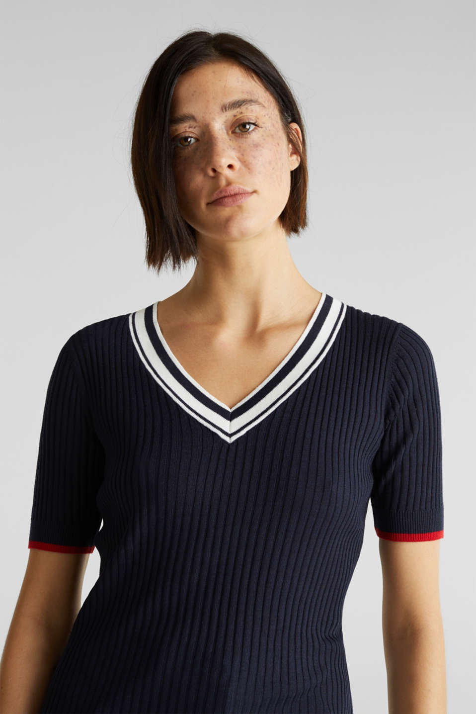 Short-sleeved V-neck jumper, NAVY 3, detail image number 2