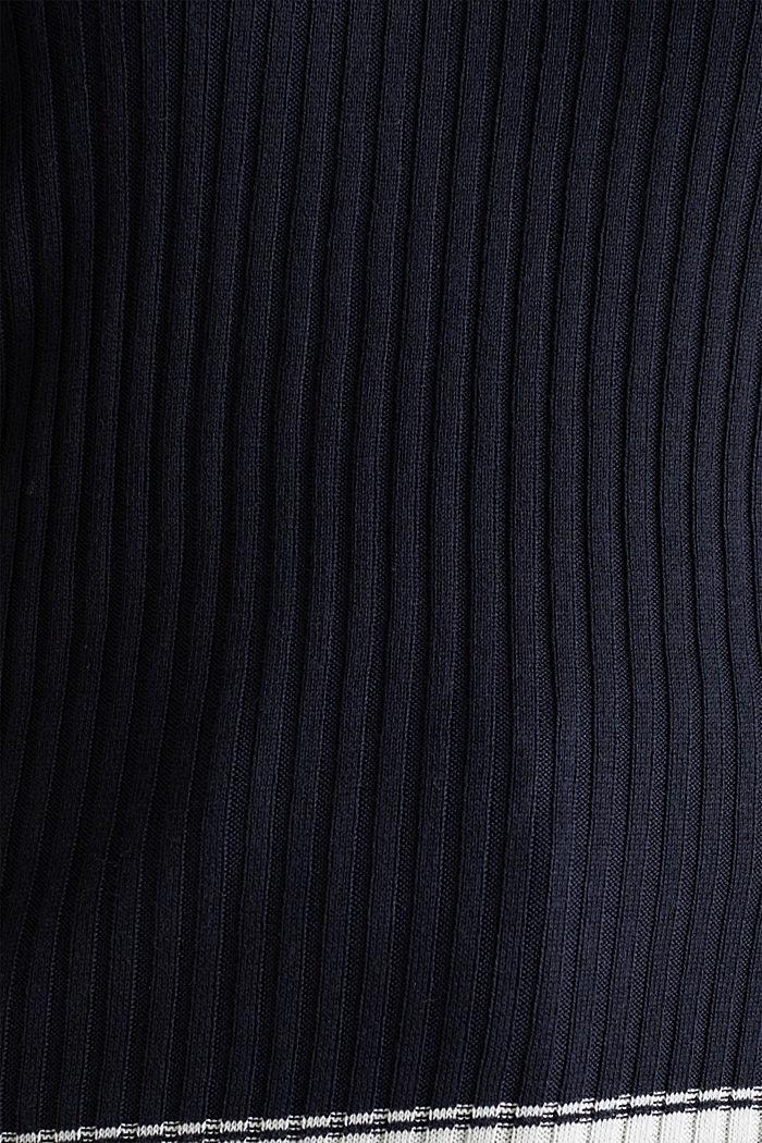 Kurzarm-Pullover mit V-Ausschnitt, NAVY, detail image number 4
