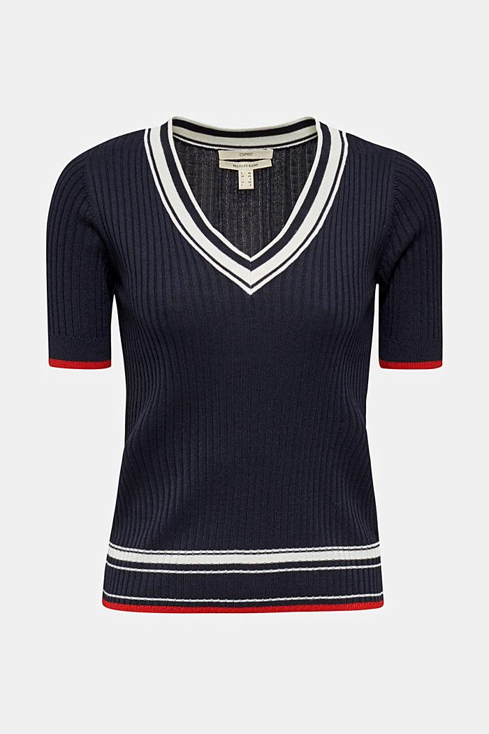 Kurzarm-Pullover mit V-Ausschnitt, NAVY, detail image number 5