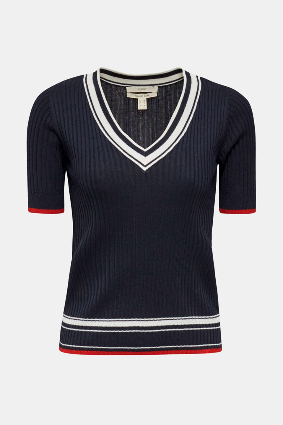 Short-sleeved V-neck jumper, NAVY 3, detail image number 5