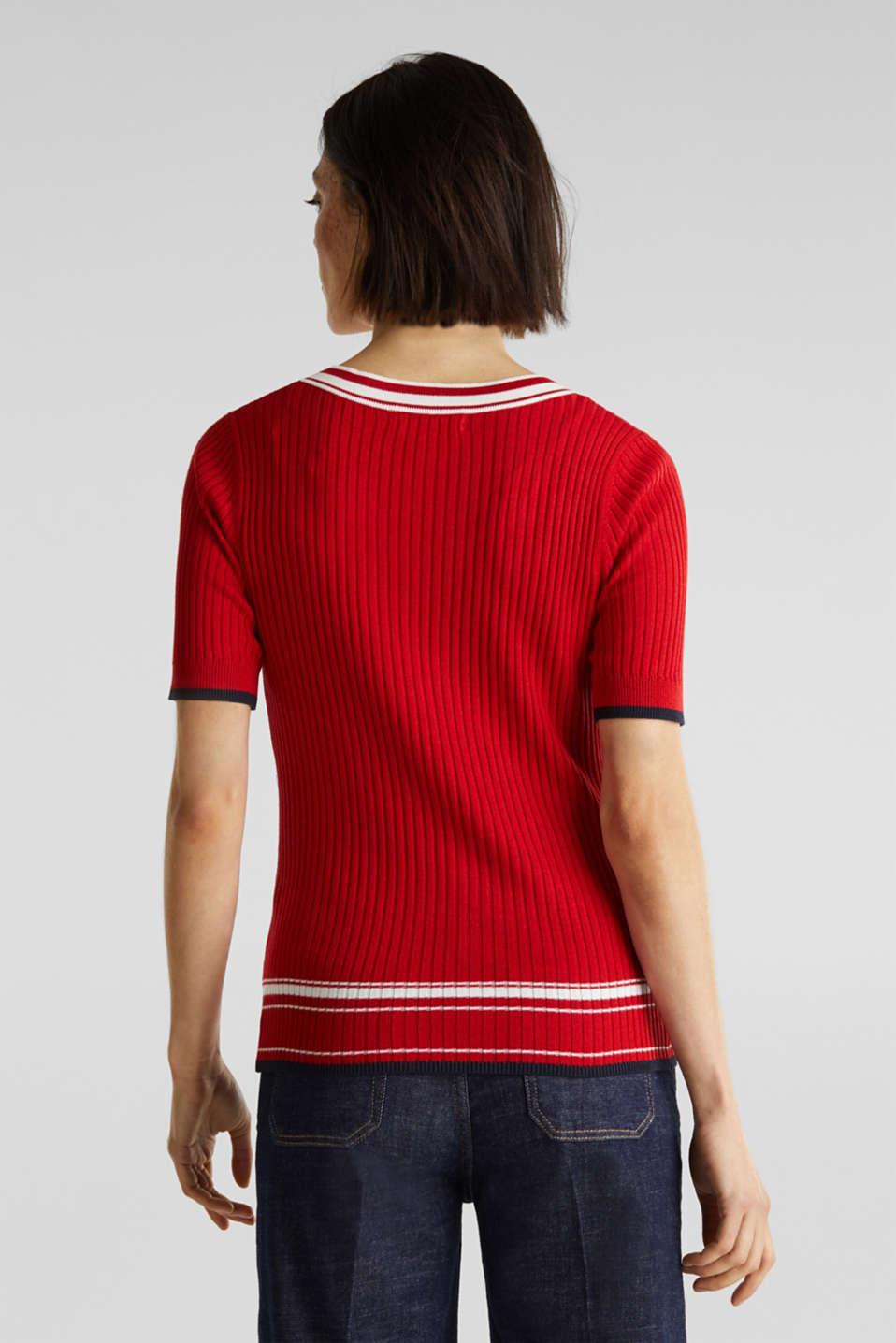 Short-sleeved V-neck jumper, DARK RED 3, detail image number 3