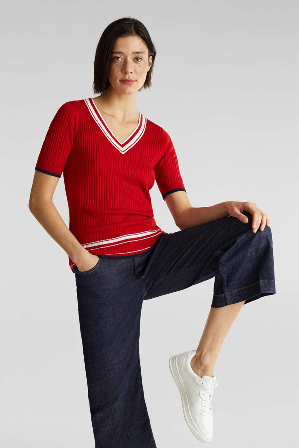 Short-sleeved V-neck jumper, DARK RED 3, detail image number 1
