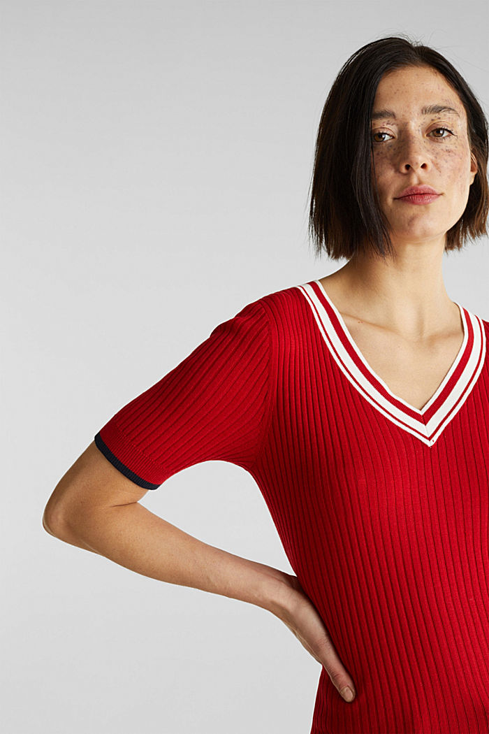 Short-sleeved V-neck jumper, DARK RED, detail image number 2