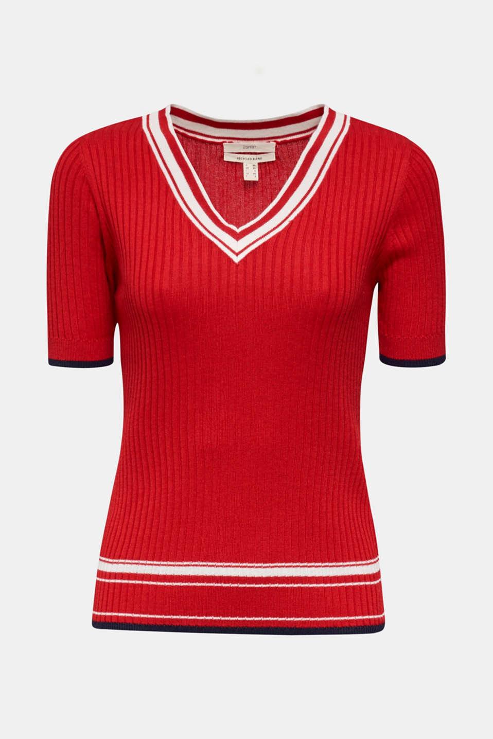 Short-sleeved V-neck jumper, DARK RED 3, detail image number 5