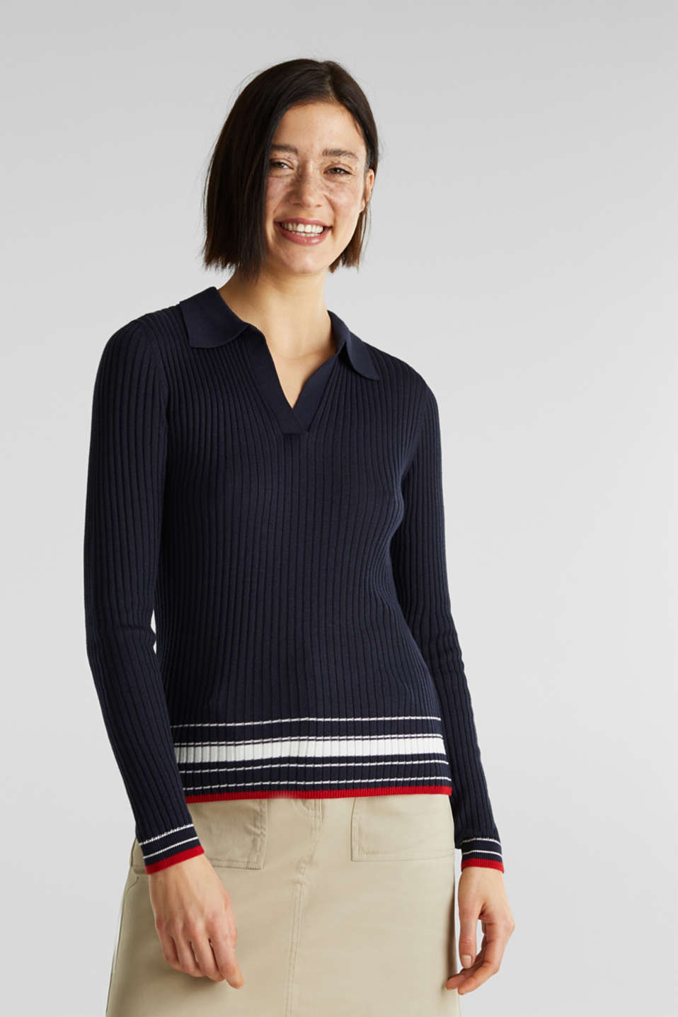 Ribbed jumper with stripes, recycled, NAVY 3, detail image number 0