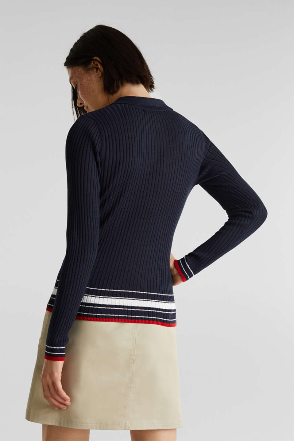 Ribbed jumper with stripes, recycled, NAVY 3, detail image number 3