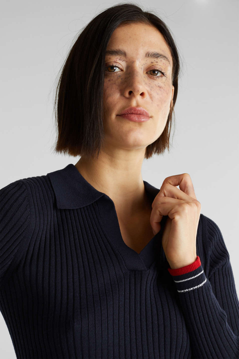 Ribbed jumper with stripes, recycled, NAVY 3, detail image number 2