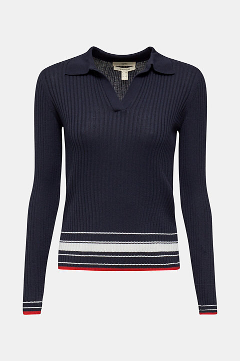 Ribbed jumper with stripes, recycled