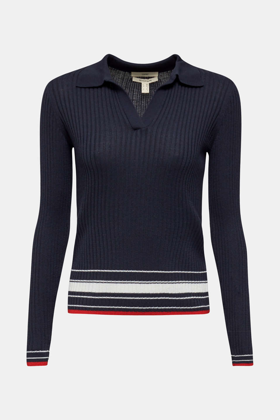 Ribbed jumper with stripes, recycled, NAVY 3, detail image number 6
