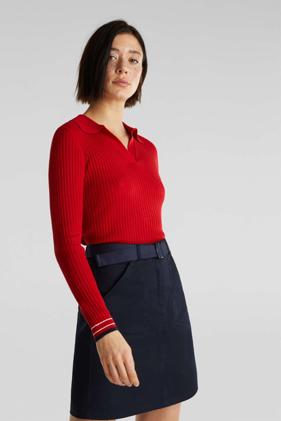Ribbed jumper with stripes, recycled, DARK RED 3, detail image number 0